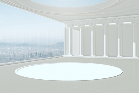 Modern white interior with panoramic city view and podium. Mock up, 3D Rendering
