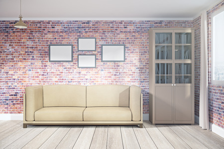 Modern living room interior with empty poster on wall and city view. Mock up, 3D Rendering