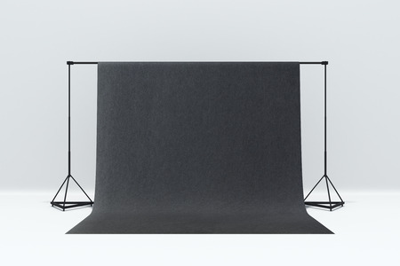 Simple photo studio interior with a mockup background. 3D Rendering  Stock Photo