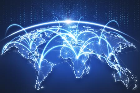 Interfaz de globo azul digital. Contexto empresarial global. Representación 3D Foto de archivo