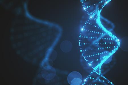 Creative glowing blurry blue DNA backdrop. 3D Rendering  Reklamní fotografie