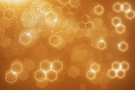 Abstracte onscherpe oranje zeshoekige achtergrond. 3D-weergave