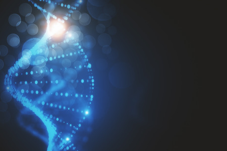 Creative glowing blurry blue DNA wallpaper. 3D Rendering  Stock Photo