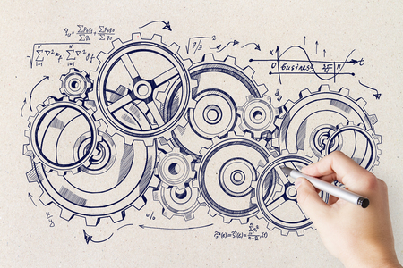 Hand drawing creative cogwheel sketch on concrete wall background. Device and system concept Banque d'images - 100849548