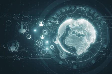 Digital business interface background. Global business and finance concept. 3D Rendering Foto de archivo - 100849558