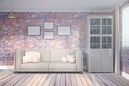 Front view of modern brick living room interior with city, view, furniture and empty poster on wall. Mock up, 3D Rendering