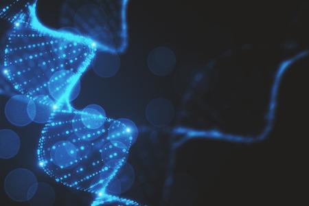 Abstract glowing blurry blue DNA backdrop. 3D Rendering  Reklamní fotografie