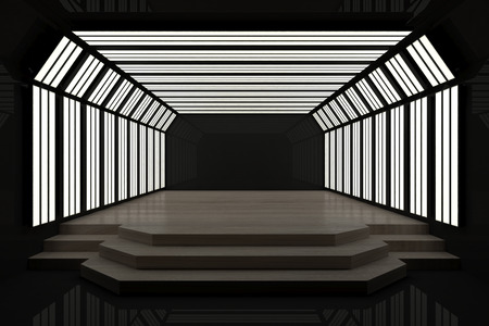 Contemporary dark interior with podium and copy space. Mock up, 3D Rendering Stock Photo