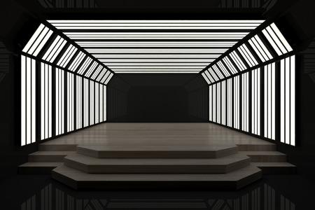 Interior oscuro contemporáneo con podio y espacio para copiar. Mock up, representación 3D