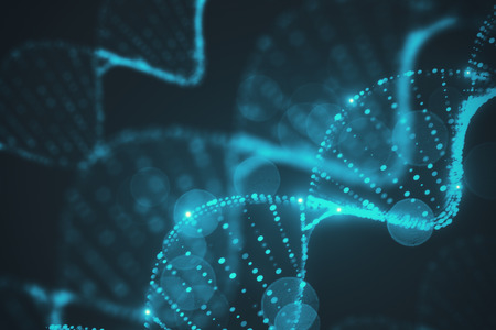 Creative glowing blurry blue DNA background. 3D Rendering