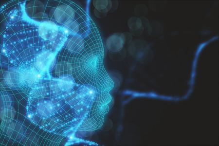 Tête abstraite avec ADN numérique sur fond bleu flou. Concept de médecine et de science. Rendu 3D Banque d'images