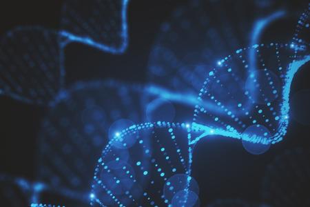 Struttura blu sfocata d'ardore astratta del DNA. Rendering 3D