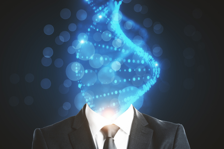DNA headed businessman on blurry background. Science and medicine concept. 3D Rendering