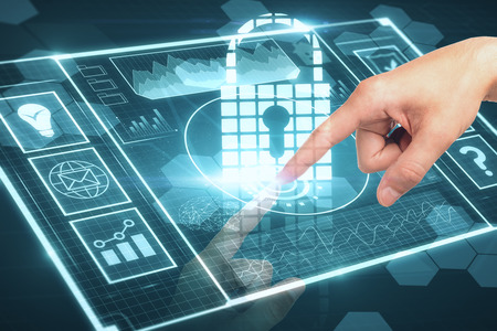 Hand pointing at abstract digital padlock interface. Internet protection and data concept. 3D Rendering