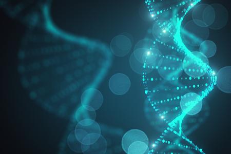 抽象的な輝くぼやけた青いDNAの背景。3D レンダリング