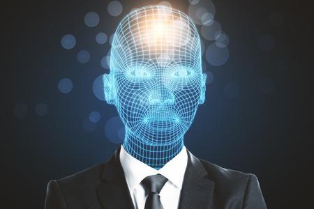 Digital grid headed male in suit on blurry dark background Stock Photo