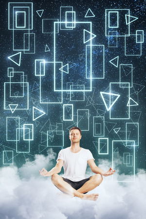 Meditating businessman on abstract cloud geometric figure sky background. Relax and futuristic concept Stockfoto