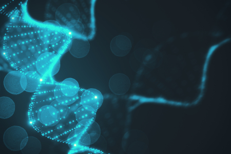Abstract glowing blurry blue DNA wallpaper. 3D Rendering