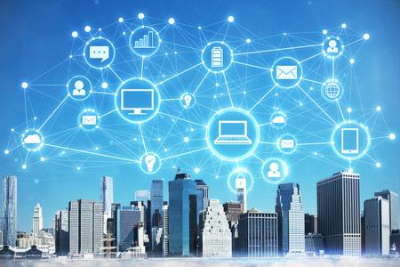 Stad met digitale bedrijfsinterface. Toekomst- en innovatieconcept