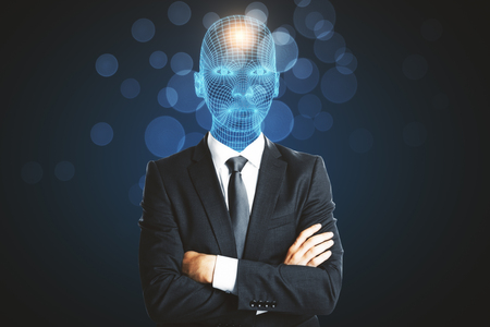 Digital grid headed man with folded arms standing on blurry dark background Stockfoto - 101781695