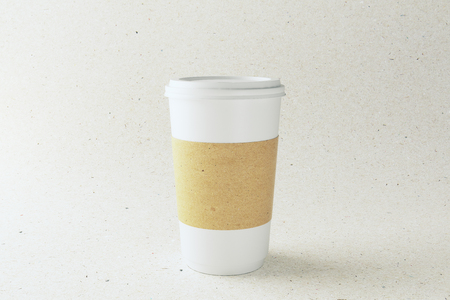 Empty label white paper coffee cup on light background. Advertisement and take away food cafe concept. Mock up, 3D Rendering  Stok Fotoğraf