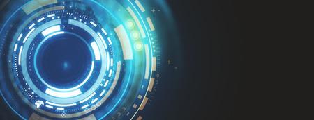 Botón redondo digital azul creativo en papel tapiz oscuro con espacio de copia. Concepto de tecnología, futuro y medios. Representación 3D Foto de archivo