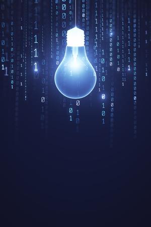 Świecąca żarówka na tle ciemnej ściany z miejsca na kopię. Pomysł i koncepcja oprogramowania. Renderowanie 3D