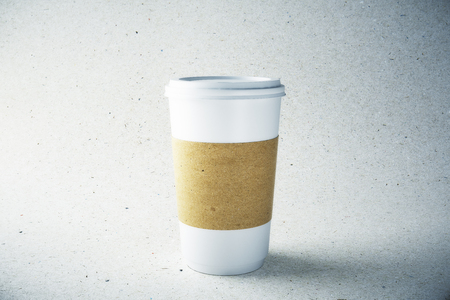 Blank label white paper coffee cup on light background. Advertisement and take away food cafe concept. Mock up, 3D Rendering