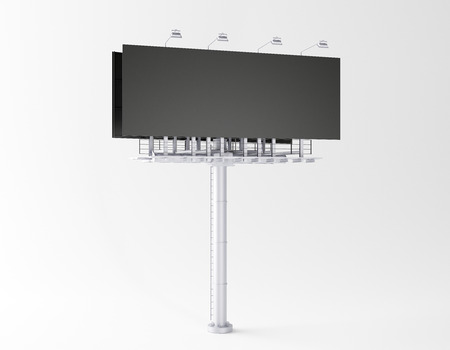 Empty billboard on white backdrop. Commerce, ad and sign concept. Mock up, 3D Rendering