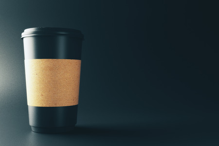 Clean label paper coffee cup on dark background. Advertisement and take away food cafe concept. Mock up, 3D Rendering