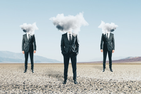 Cloud headed men standing on landscape background. Confusion concept