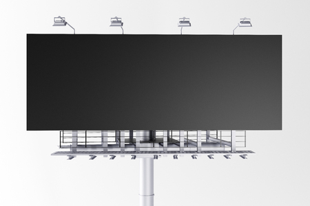Blank billboard on white background. Commerce, ad and sign concept. Mock up, 3D Rendering