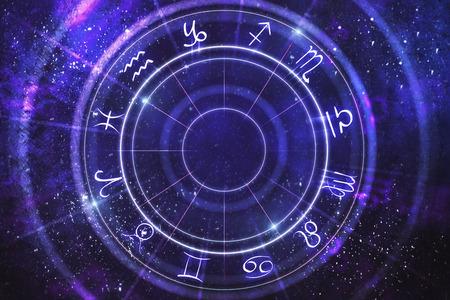 Abstract purple zodiac wheel backdrop. Cyberspace concept. 3D Rendering