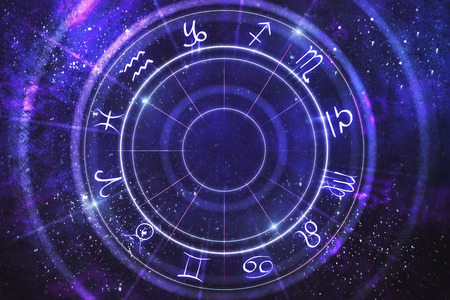 Abstract purple zodiac wheel backdrop. Cyberspace concept. 3D Rendering