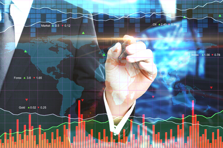 Businessman hand pointing at creative forex chart. Finance and trade concept. Double exposure  Stok Fotoğraf