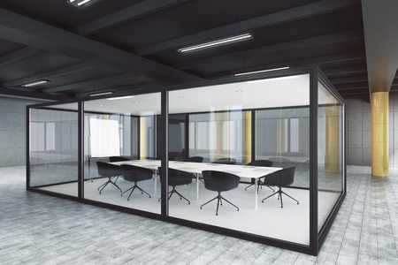 Modern glass meeting room interior. Design and style concept. 3D Rendering