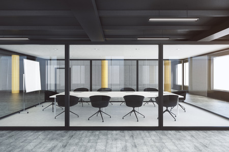Modern glass boardroom interior. Design and style concept. 3D Rendering  Stock Photo