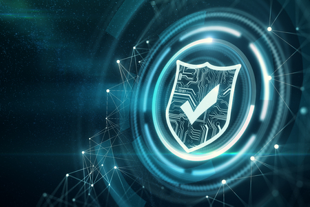 Creative glowing digital antivirus background. Web safety and cyberspace concept. 3D Rendering