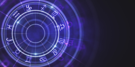 Abstract purple zodiac wheel wallpaper. Cyberspace concept. 3D Rendering
