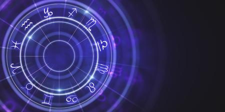 Abstract purple zodiac wheel wallpaper. Cyberspace concept. 3D Rendering Reklamní fotografie - 102465997