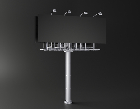 Empty billboard on black background. Commerce, ad and sign concept. Mock up, 3D Rendering