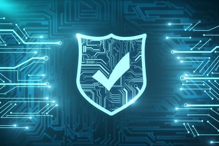 Texture antivirus numérique brillante créative. Concept de sécurité Web et de cyberespace. Rendu 3D