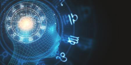 Abstraktes digitales Kopfprofil mit Horoskoprad auf dunklem Hintergrund. Glück und Zukunftskonzept. 3D-Rendering