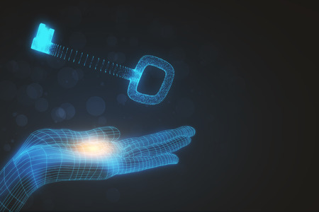 Digital hand holding glowing key on dark background. Access concept. 3D Rendering