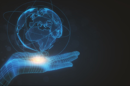Digital hand with globe on dark background. International business concept. 3D Rendering Standard-Bild - 102896490