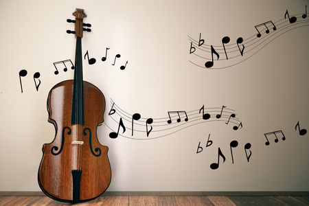 Violin with notes on concrete wall background. Music and instrument concept. 3D Rendering