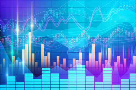 Abstract forex chart background. Finance and investment concept. 3D Rendering