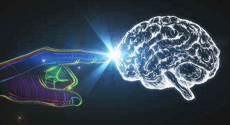 Digitale Hand mit Gehirn auf dunklem Hintergrund. Konzept der künstlichen Intelligenz. 3D-Rendering