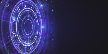 Creative purple zodiac wheel backdrop. Cyberspace concept. 3D Rendering