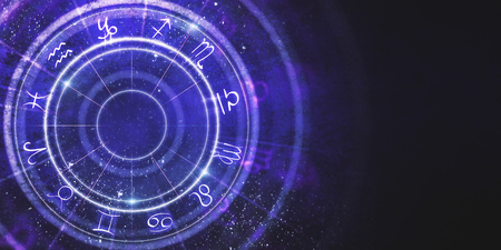 Creative purple zodiac wheel background. Cyberspace concept. 3D Rendering  Banco de Imagens